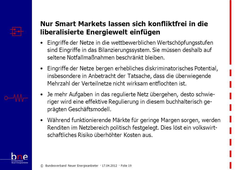 Nur Smart Markets lassen sich konfliktfrei in die liberalisierte Energiewelt einfügen