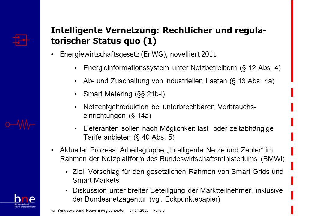 Intelligente Vernetzung: Rechtlicher und regula-torischer Status quo (1)