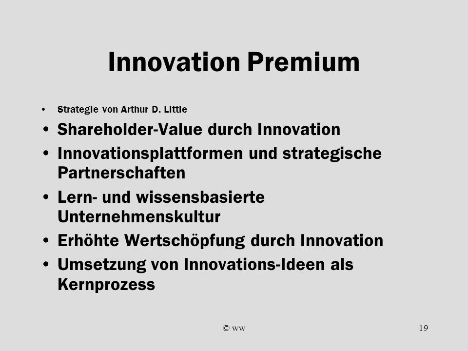 Innovation Premium Shareholder-Value durch Innovation
