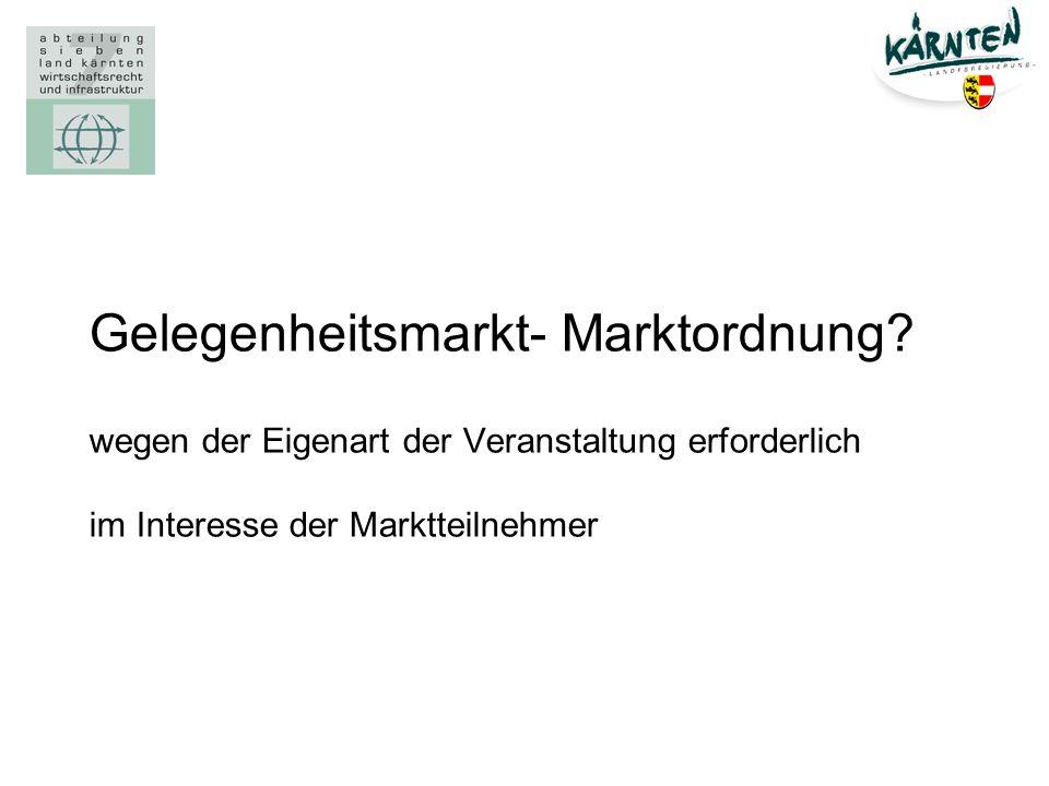 Gelegenheitsmarkt- Marktordnung