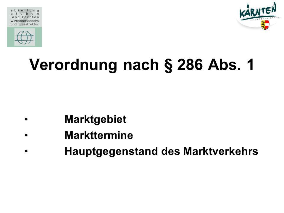 Verordnung nach § 286 Abs. 1 Marktgebiet Markttermine