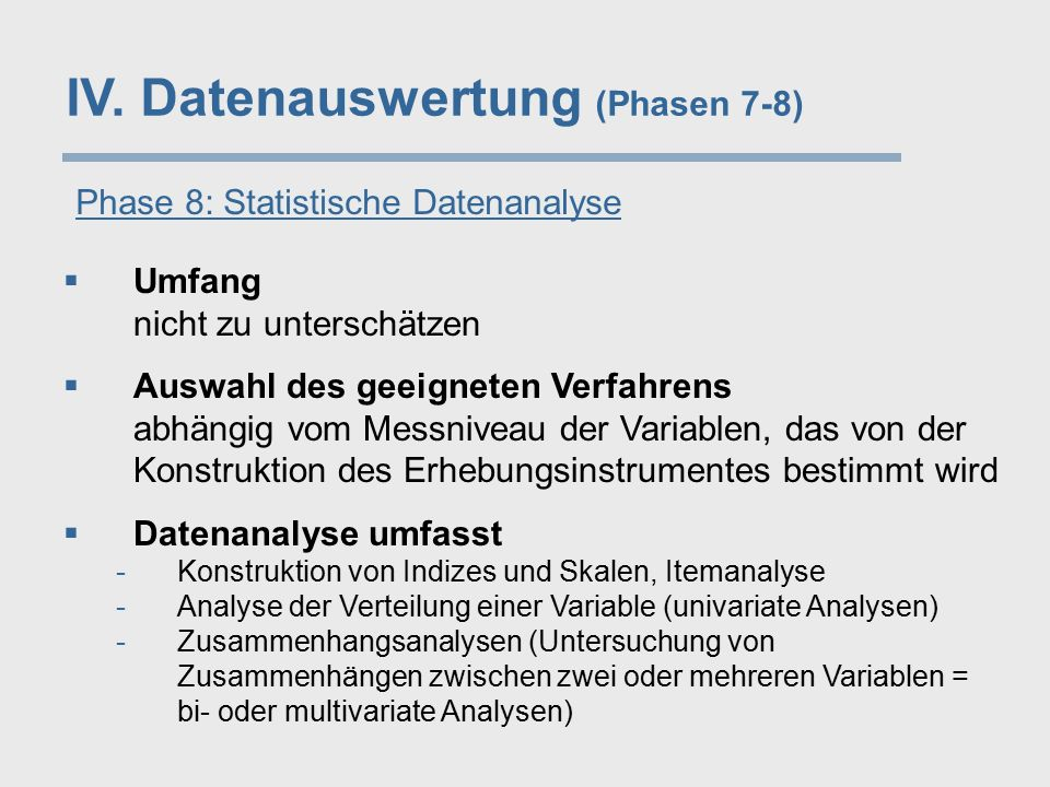 IV. Datenauswertung (Phasen 7-8)