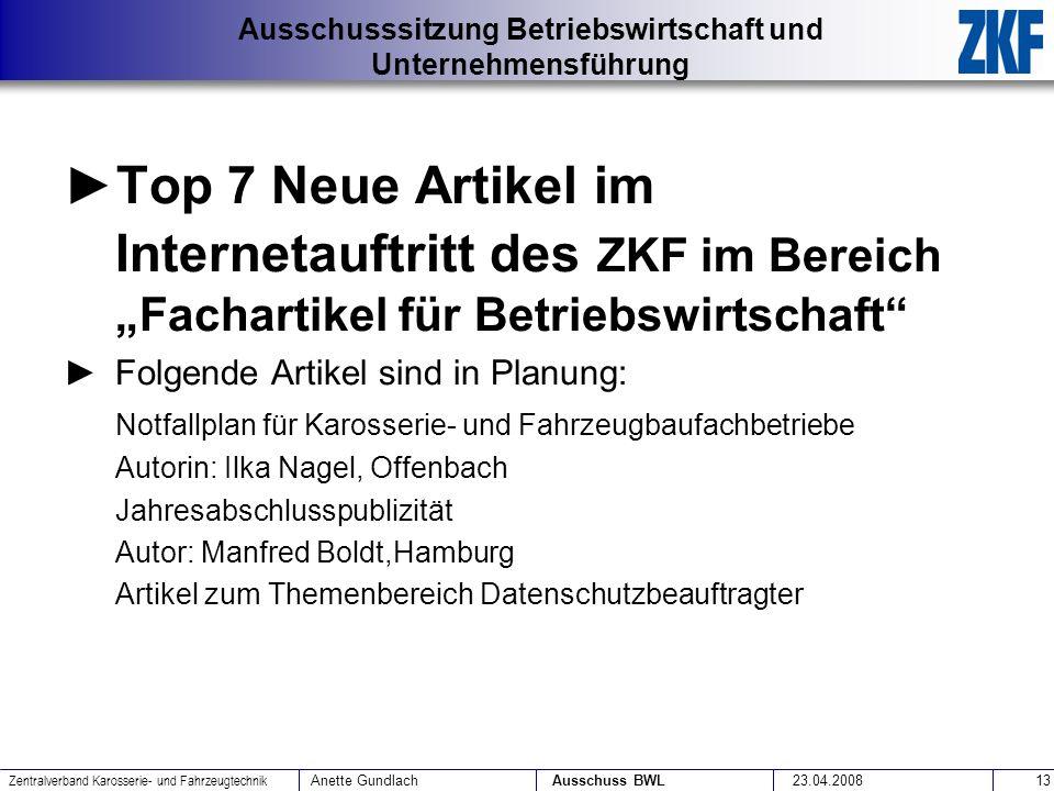 """Top 7 Neue Artikel im Internetauftritt des ZKF im Bereich """"Fachartikel für Betriebswirtschaft"""