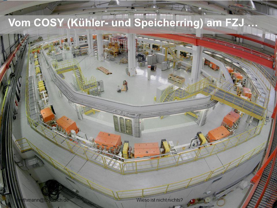 Vom COSY (Kühler- und Speicherring) am FZJ …