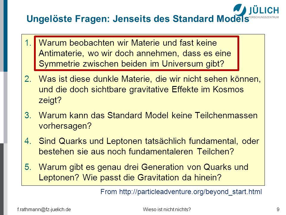 Ungelöste Fragen: Jenseits des Standard Models