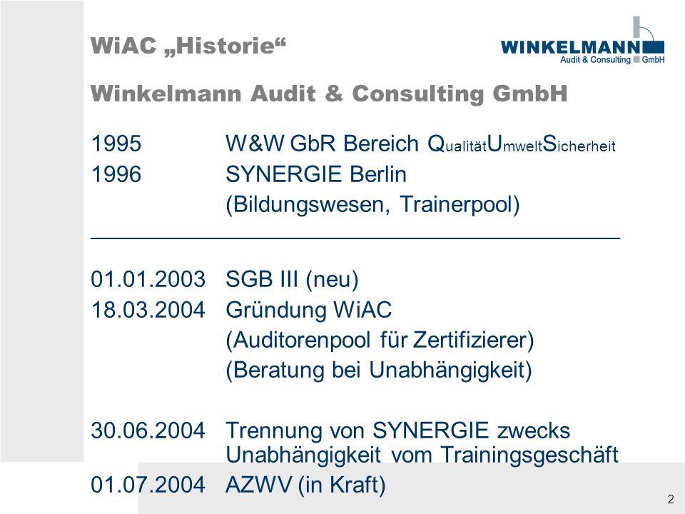 """WiAC """"Historie Winkelmann Audit & Consulting GmbH"""
