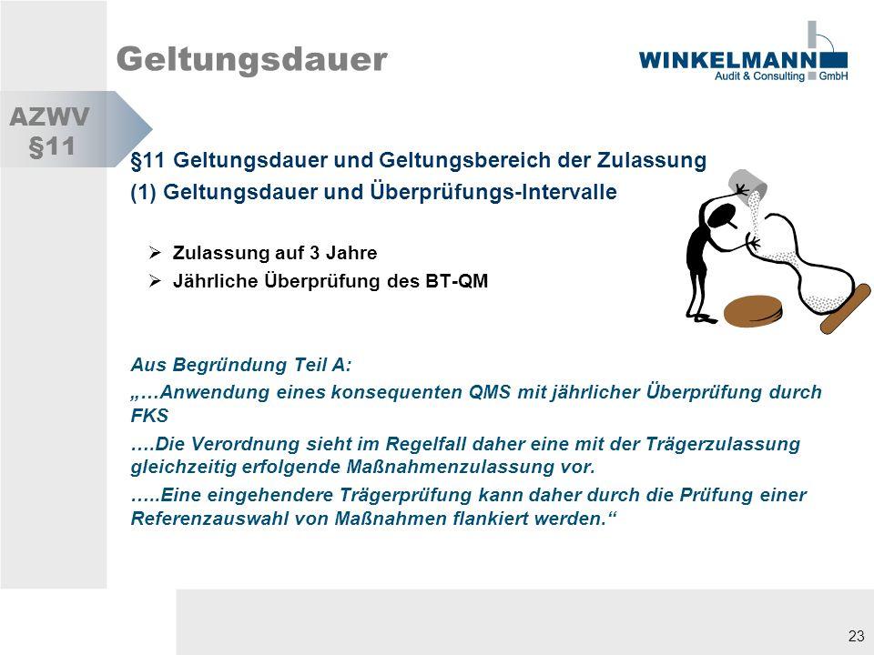 Geltungsdauer AZWV. §11. §11 Geltungsdauer und Geltungsbereich der Zulassung. (1) Geltungsdauer und Überprüfungs-Intervalle.