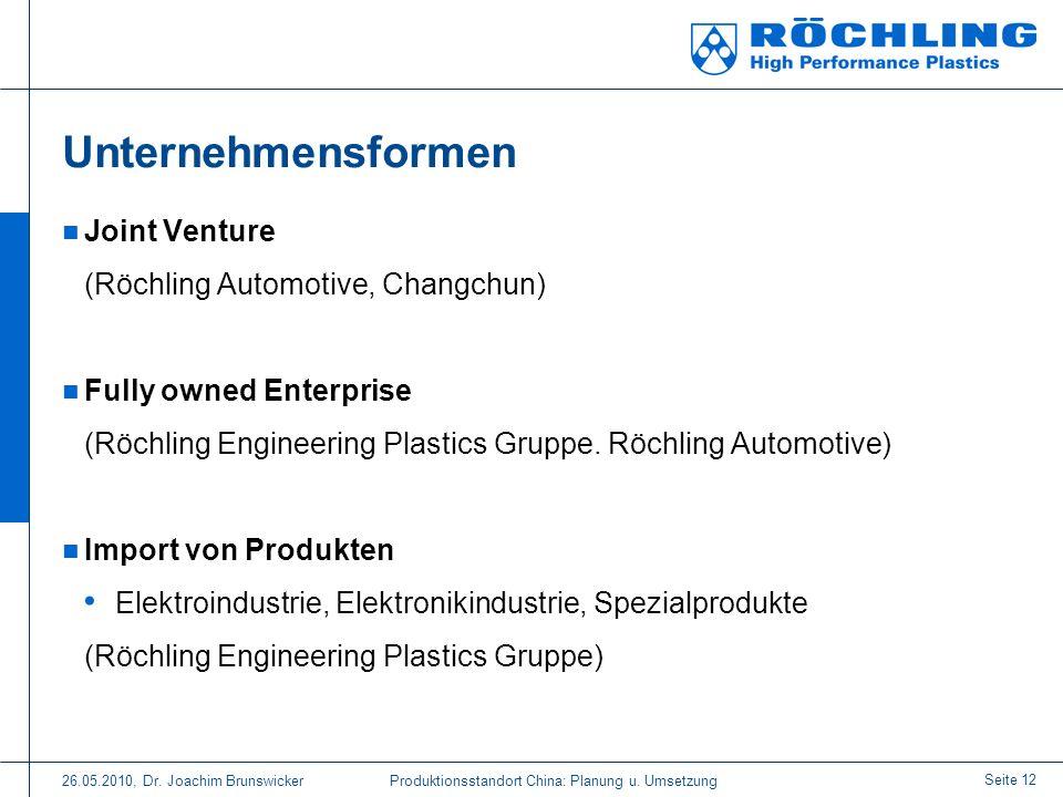 Unternehmensformen Joint Venture (Röchling Automotive, Changchun)