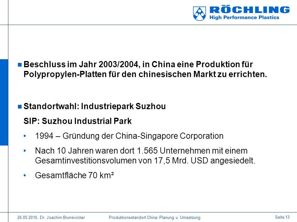 Standortwahl: Industriepark Suzhou SIP: Suzhou Industrial Park