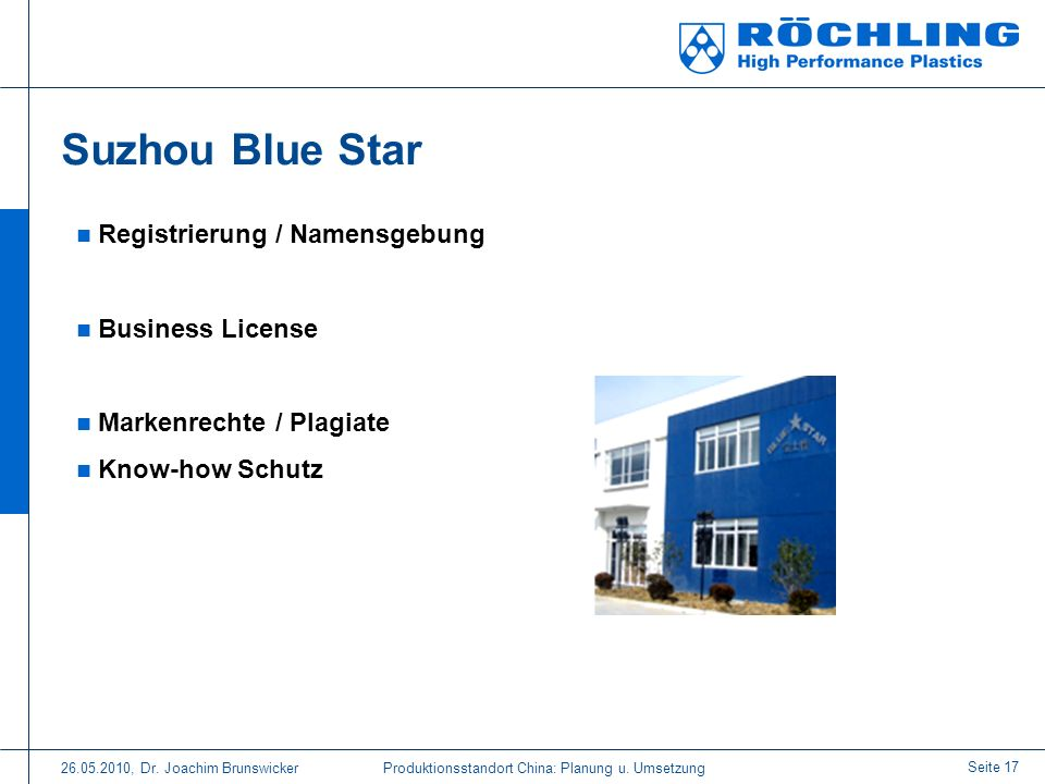 Suzhou Blue Star Registrierung / Namensgebung Business License