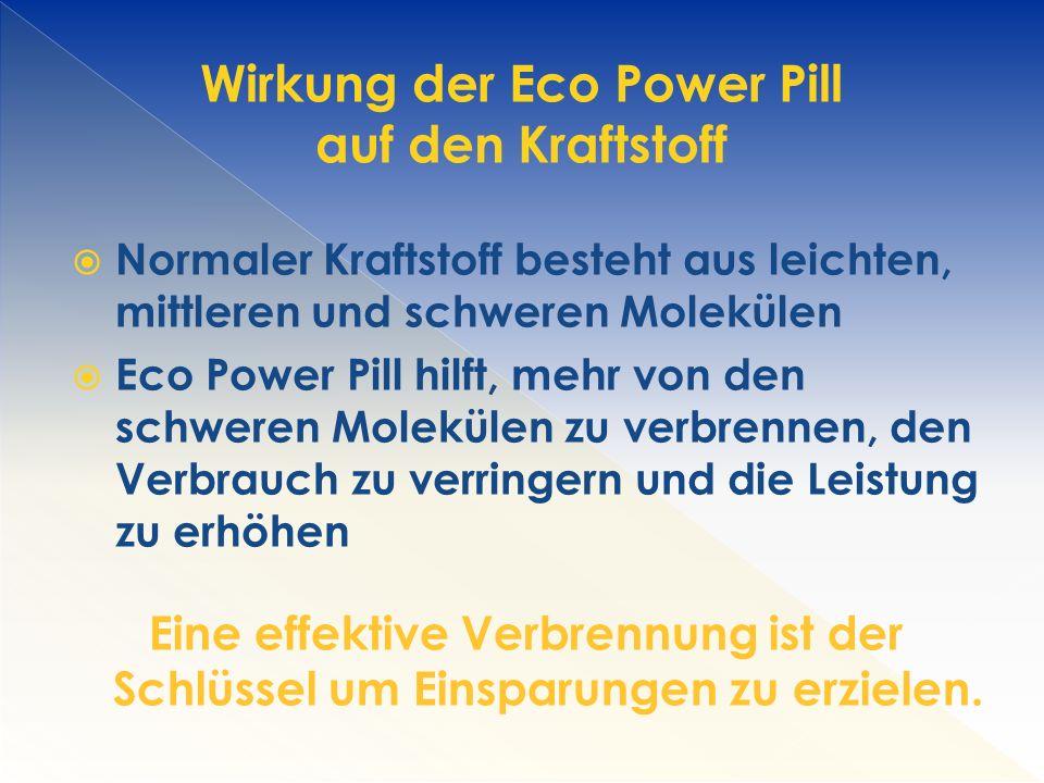 Wirkung der Eco Power Pill auf den Kraftstoff