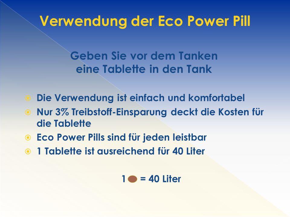Verwendung der Eco Power Pill