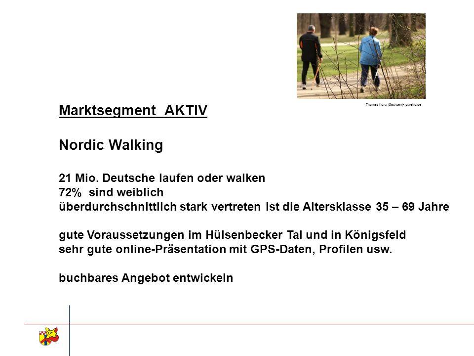 Marktsegment AKTIV Nordic Walking 21 Mio. Deutsche laufen oder walken