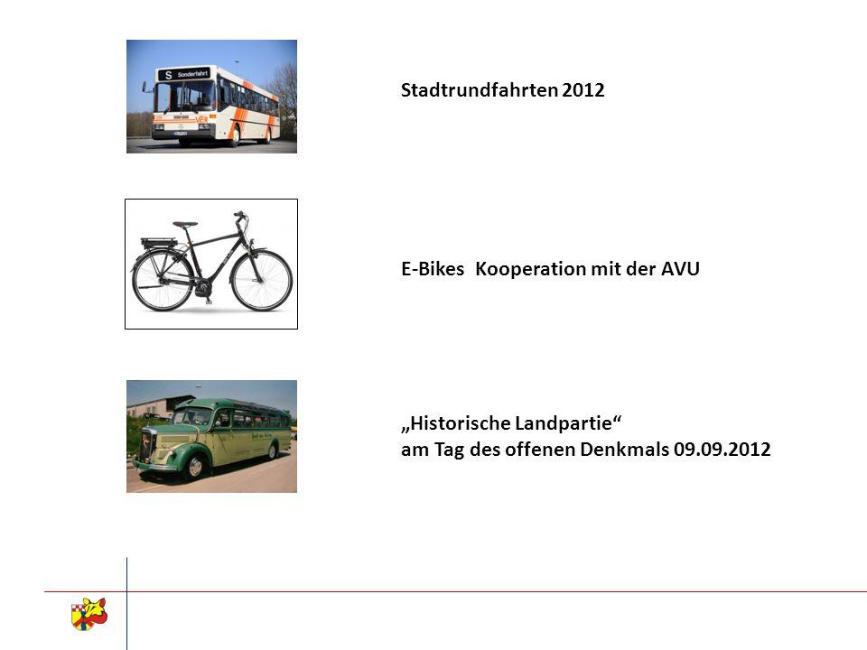 Stadtrundfahrten 2012 E-Bikes Kooperation mit der AVU.