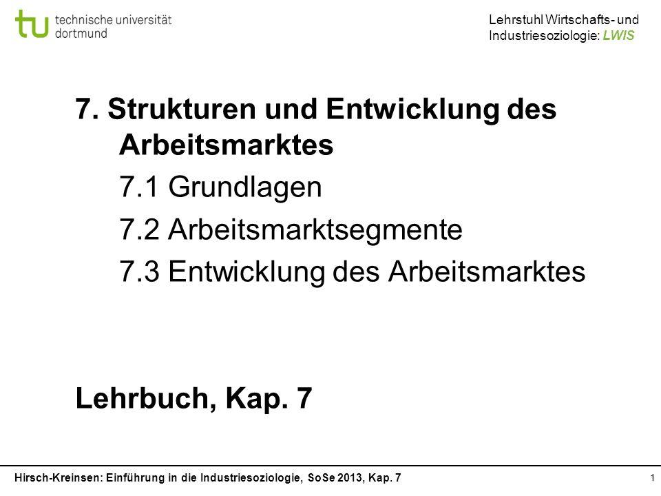 7. Strukturen und Entwicklung des Arbeitsmarktes 7.1 Grundlagen