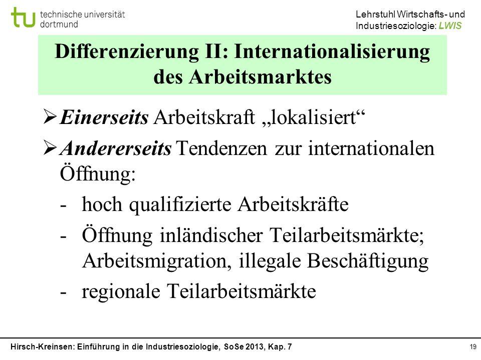 Differenzierung II: Internationalisierung des Arbeitsmarktes
