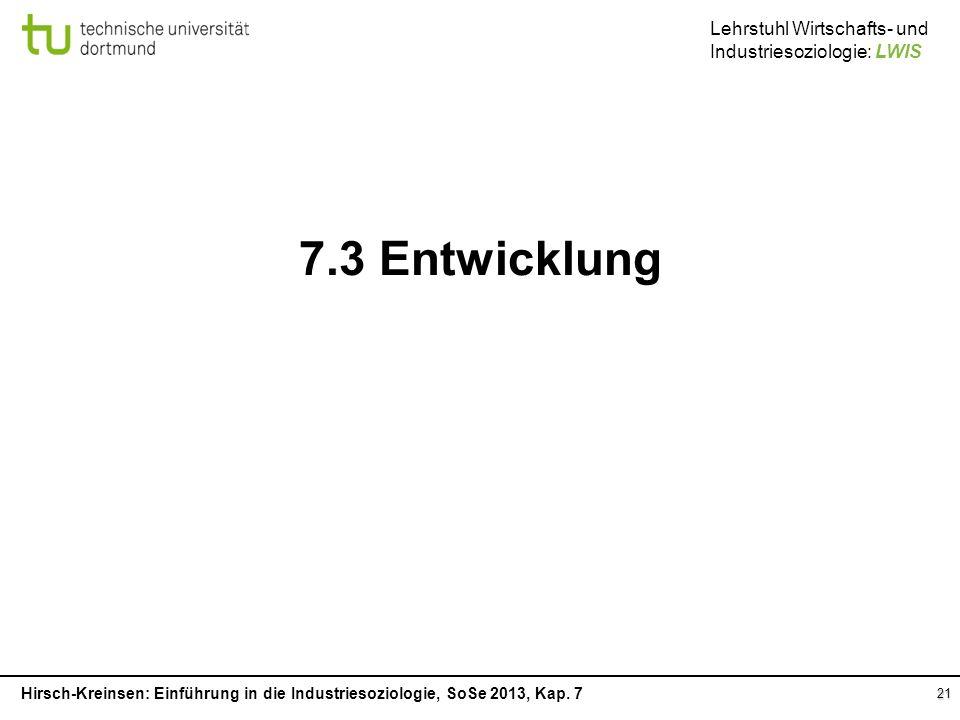 7.3 Entwicklung