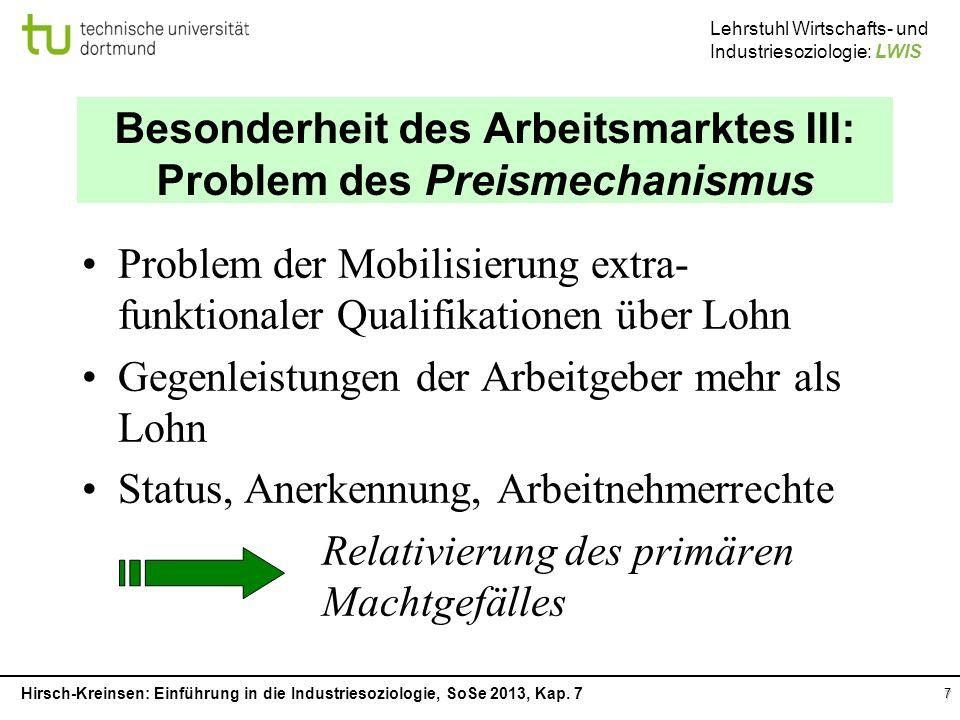 Besonderheit des Arbeitsmarktes III: Problem des Preismechanismus