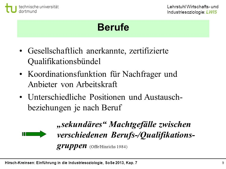 Berufe Gesellschaftlich anerkannte, zertifizierte Qualifikationsbündel