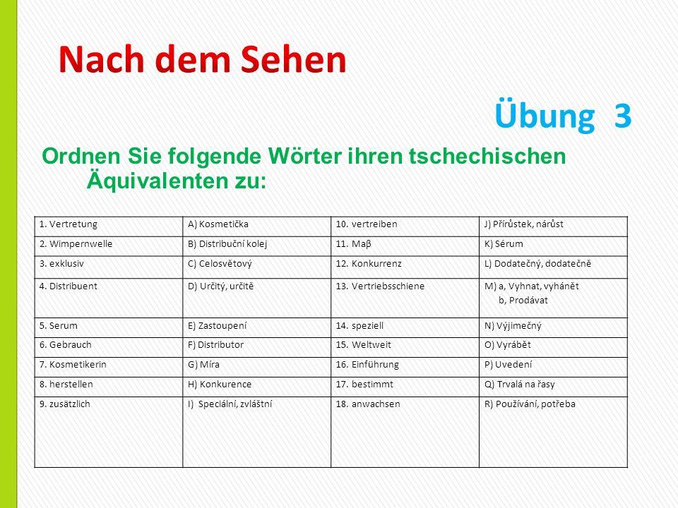 Nach dem Sehen Übung 3. Ordnen Sie folgende Wörter ihren tschechischen Äquivalenten zu: 1. Vertretung.