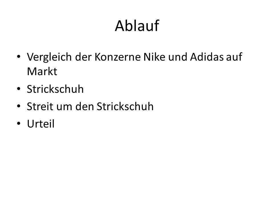 Ablauf Vergleich der Konzerne Nike und Adidas auf Markt Strickschuh