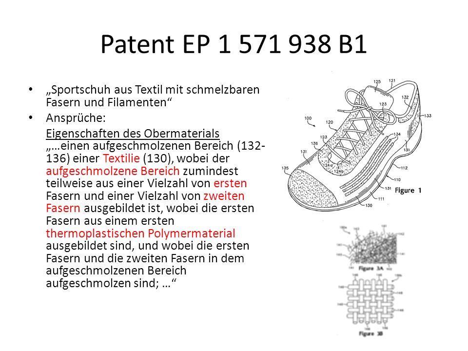 """Patent EP 1 571 938 B1 """"Sportschuh aus Textil mit schmelzbaren Fasern und Filamenten Ansprüche:"""