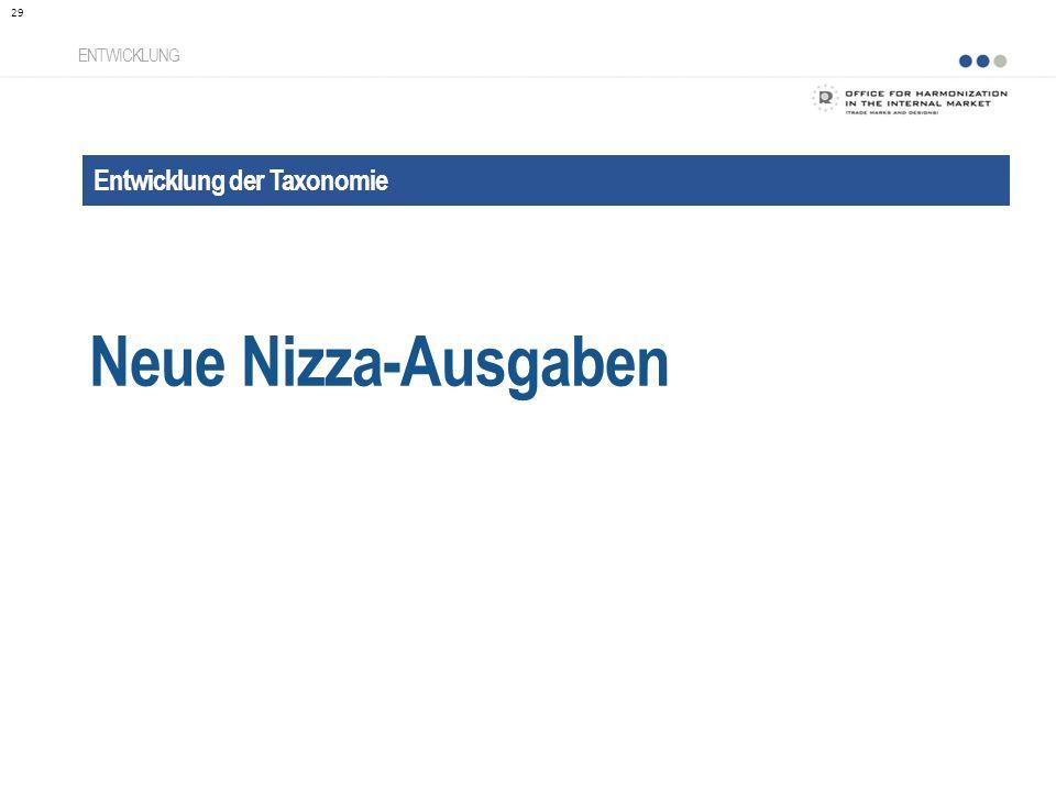 Neue Nizza-Ausgaben Entwicklung der Taxonomie ENTWICKLUNG