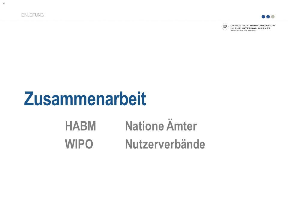Zusammenarbeit HABM Natione Ämter WIPO Nutzerverbände EINLEITUNG
