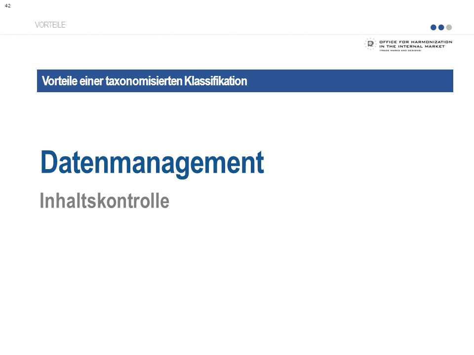 Datenmanagement Inhaltskontrolle