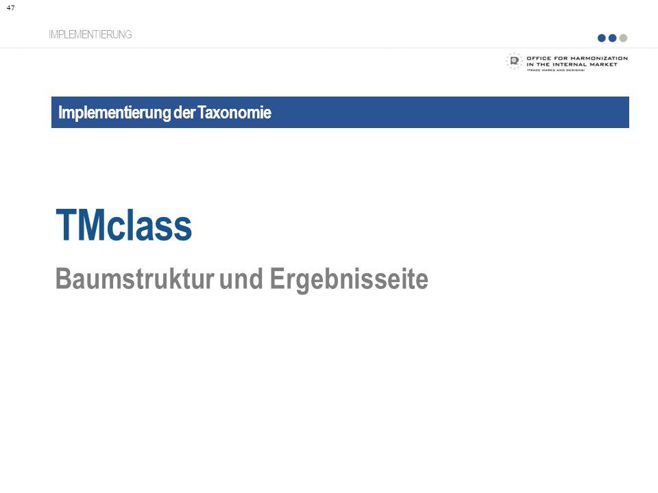 TMclass Baumstruktur und Ergebnisseite Implementierung der Taxonomie