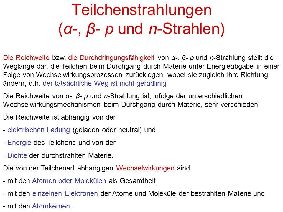 Teilchenstrahlungen (α-, β- p und n-Strahlen)