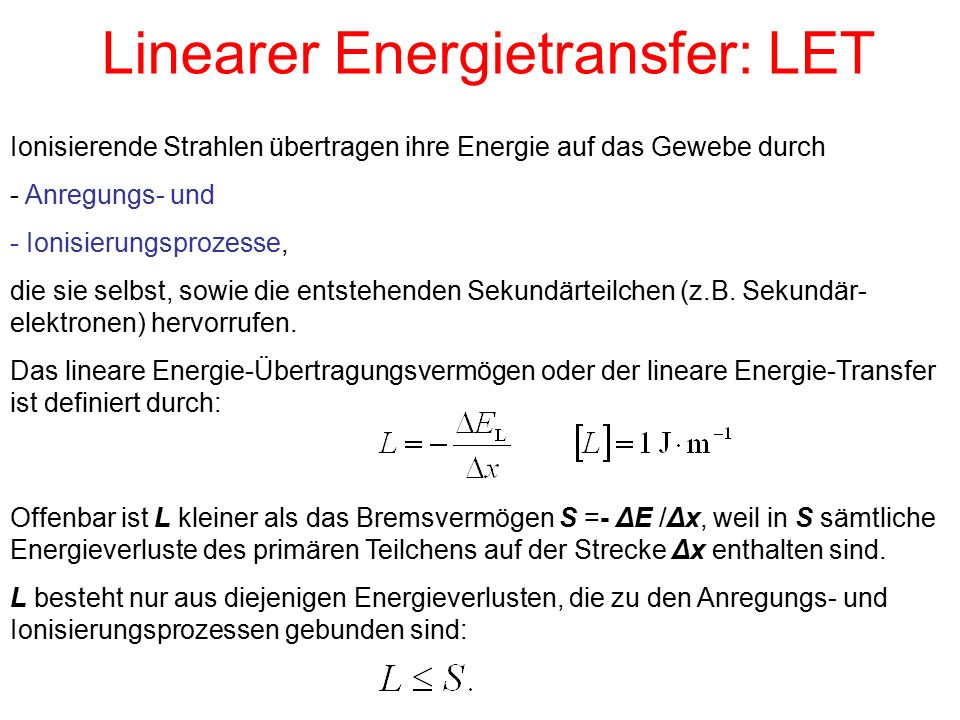 Linearer Energietransfer: LET
