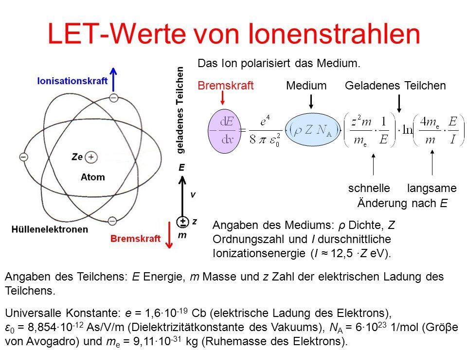 LET-Werte von Ionenstrahlen