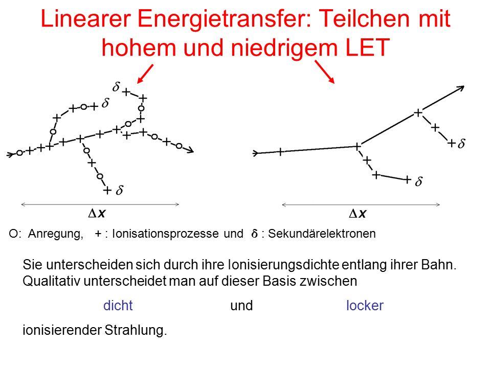 Linearer Energietransfer: Teilchen mit hohem und niedrigem LET