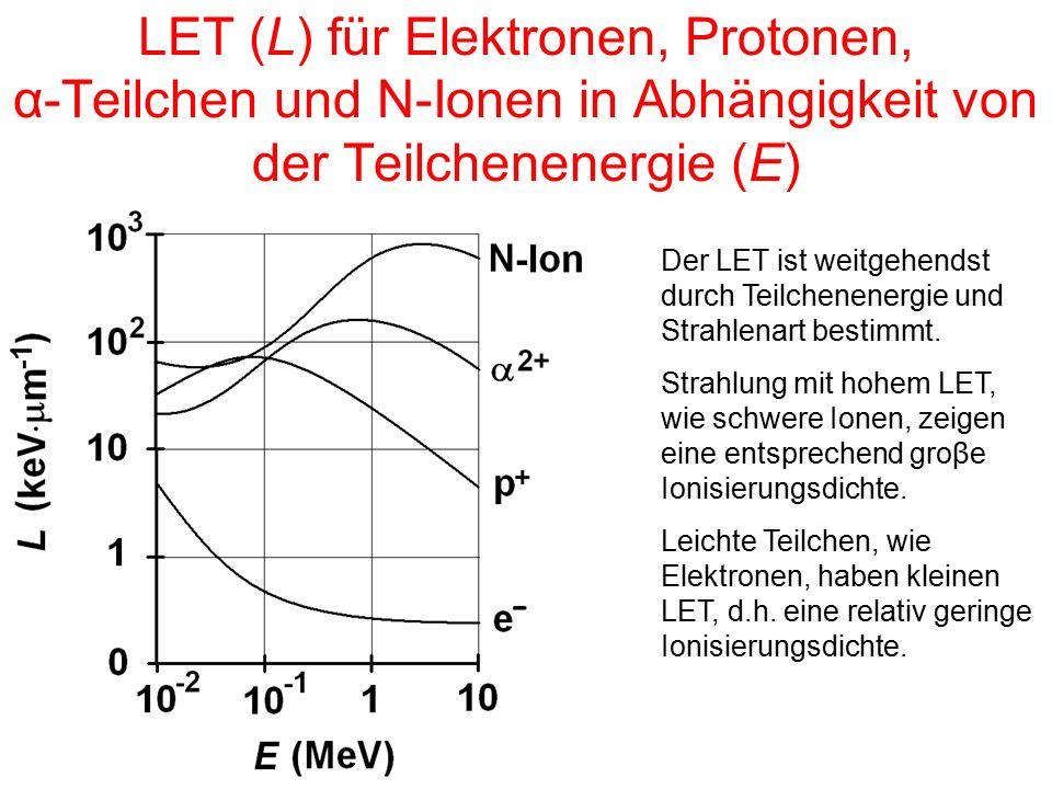LET (L) für Elektronen, Protonen, α-Teilchen und N-Ionen in Abhängigkeit von der Teilchenenergie (E)