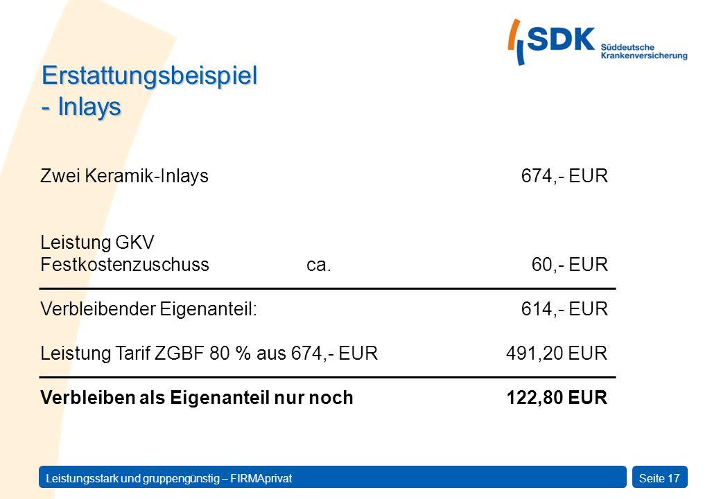 Erstattungsbeispiel - Inlays Zwei Keramik-Inlays 674,- EUR
