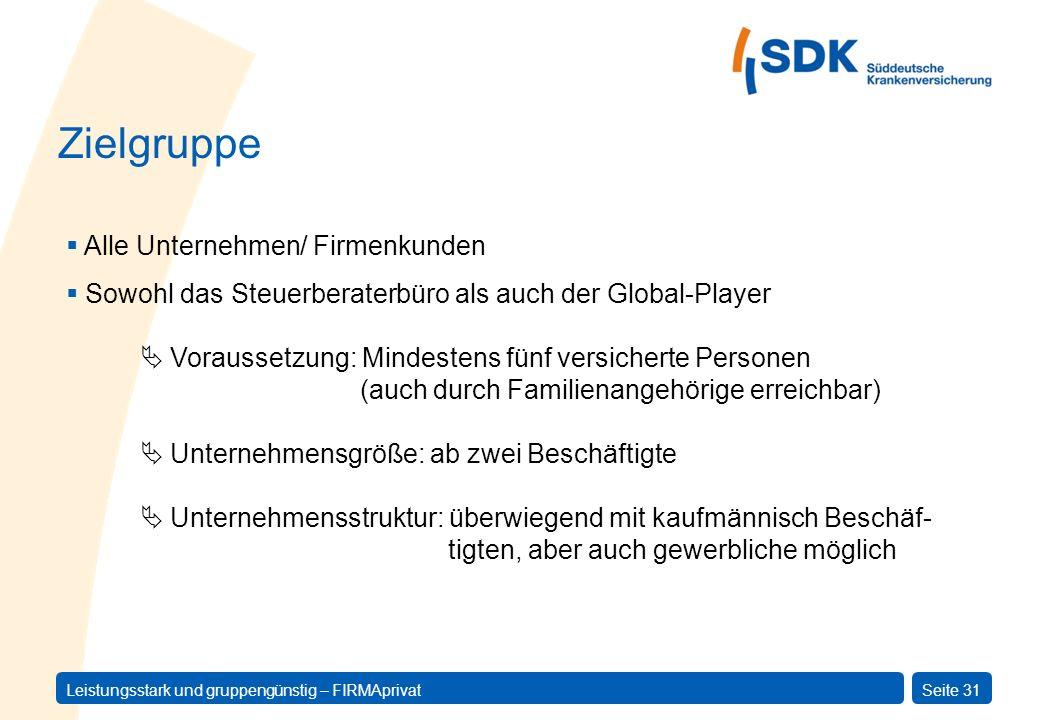 Zielgruppe Alle Unternehmen/ Firmenkunden