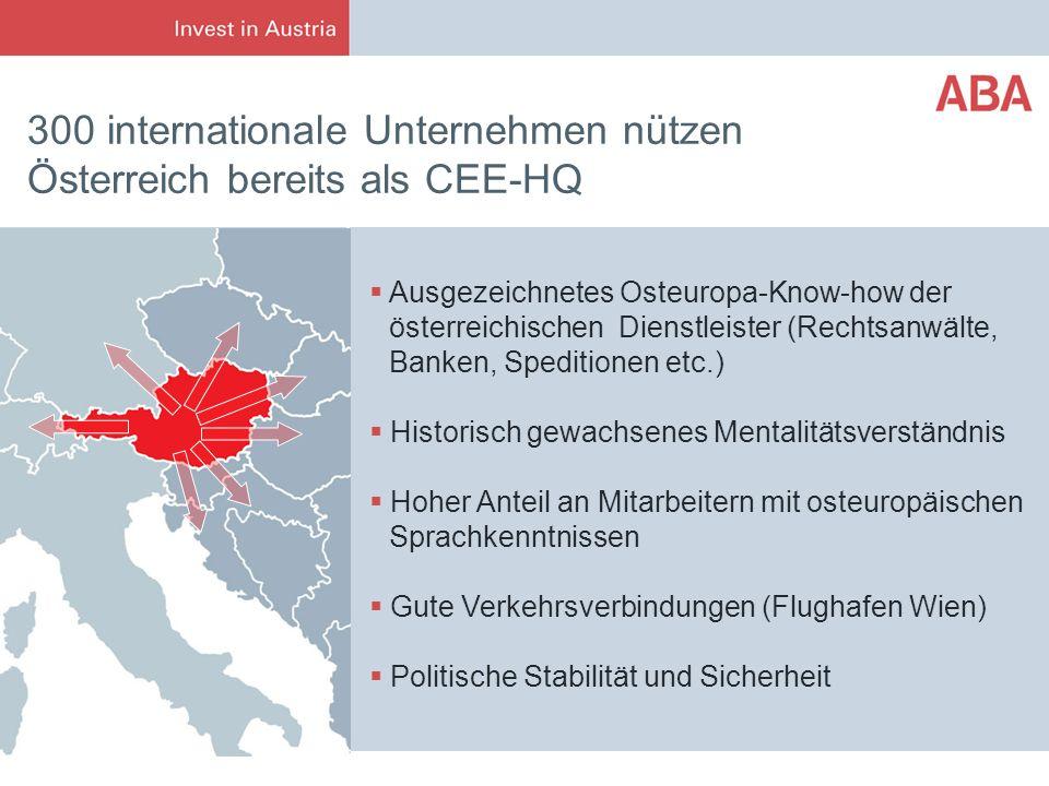 300 internationale Unternehmen nützen Österreich bereits als CEE-HQ