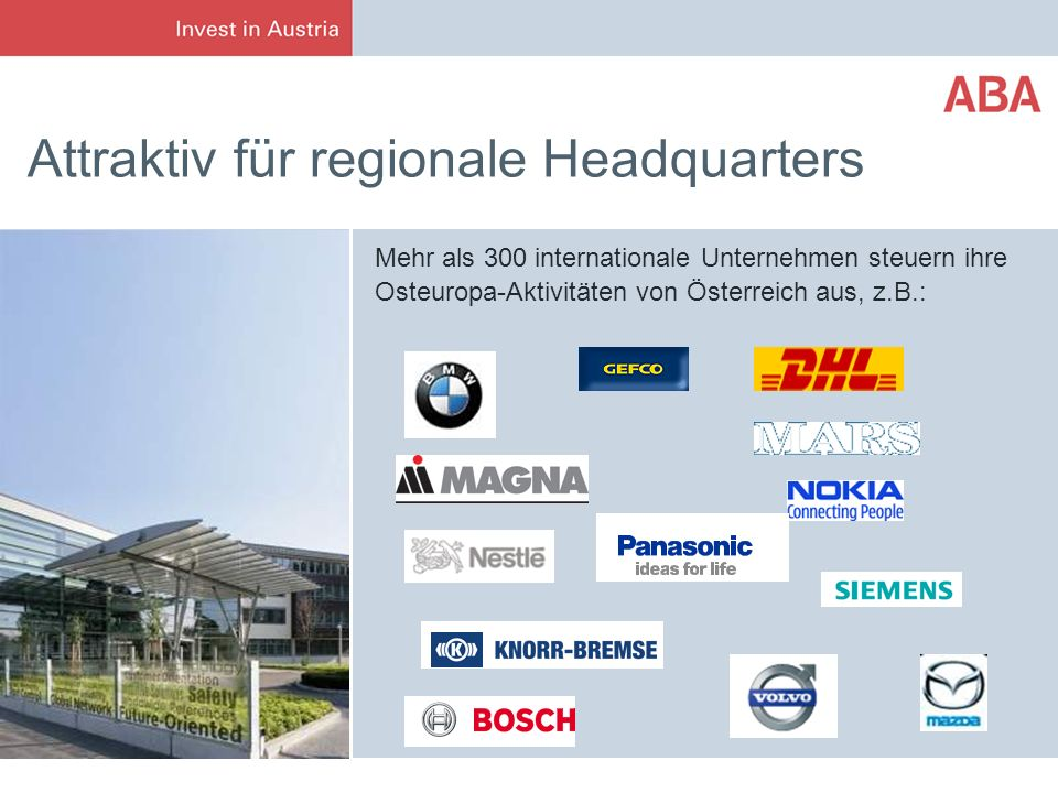 Attraktiv für regionale Headquarters