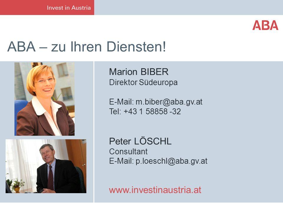 ABA – zu Ihren Diensten! Marion BIBER Peter LÖSCHL Consultant