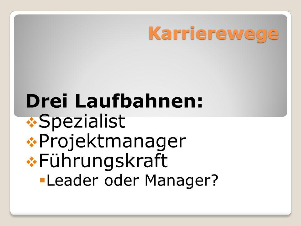 Drei Laufbahnen: Spezialist Projektmanager Führungskraft Karrierewege