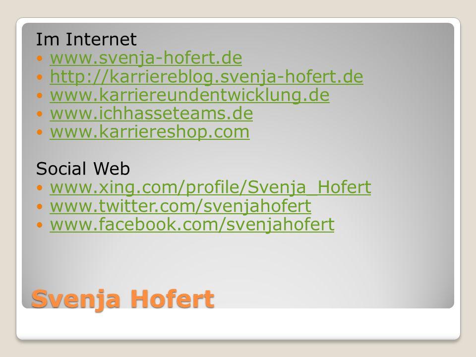 Svenja Hofert Im Internet www.svenja-hofert.de