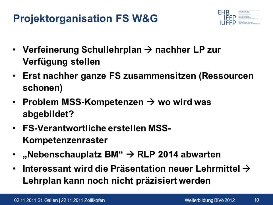Projektorganisation FS W&G