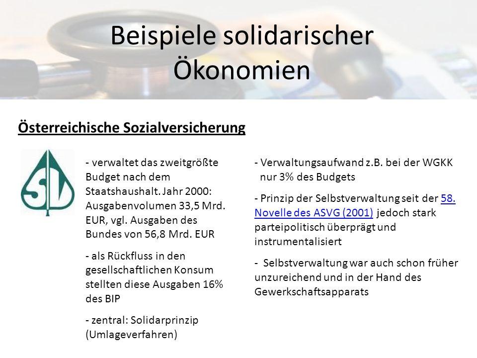 Beispiele solidarischer Ökonomien