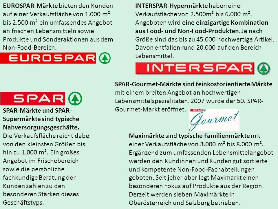 EUROSPAR-Märkte bieten den Kunden auf einer Verkaufsfläche von 1