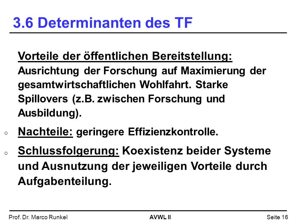3.6 Determinanten des TF