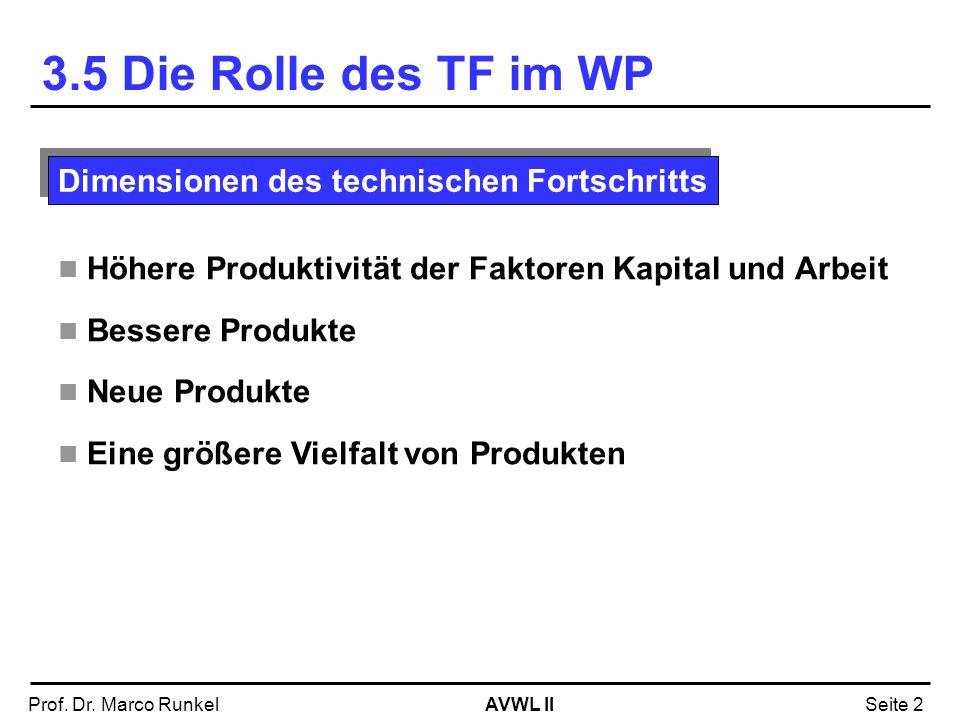 3.5 Die Rolle des TF im WP Dimensionen des technischen Fortschritts