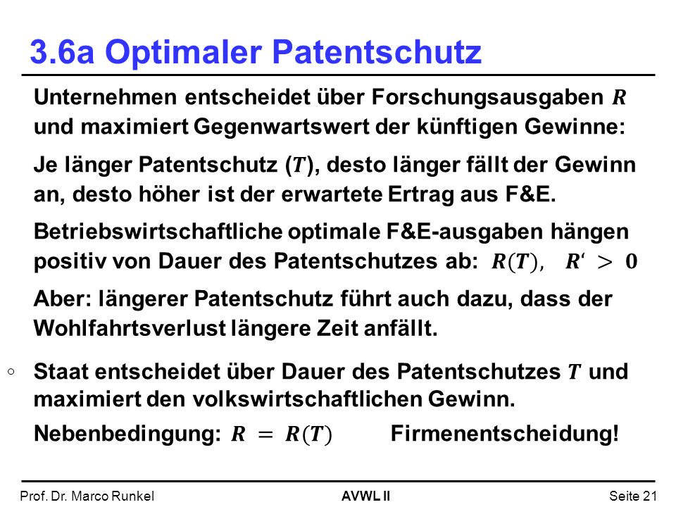 3.6a Optimaler Patentschutz