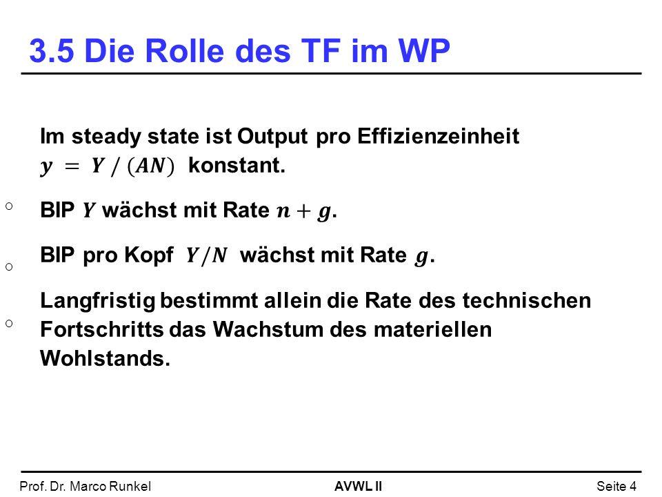 3.5 Die Rolle des TF im WP Im steady state ist Output pro Effizienzeinheit 𝒚 = 𝒀 / (𝑨𝑵) konstant.