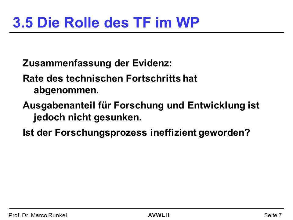 3.5 Die Rolle des TF im WP Zusammenfassung der Evidenz: